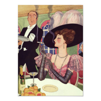 Vintage Woman Drinking Champagne Smoking Cigarette Card