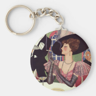 Vintage Woman Drinking Champagne Smoking Cigarette Keychain