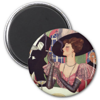 Vintage Woman Drinking Champagne Smoking Cigarette Magnet