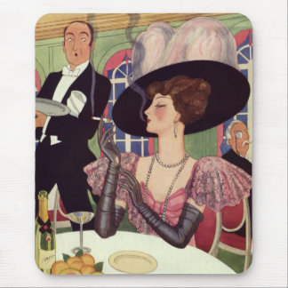 Vintage Woman Drinking Champagne Smoking Cigarette Mouse Pad