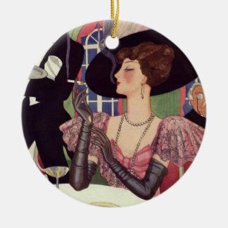 Vintage Woman Drinking Champagne Smoking Cigarette Christmas Tree Ornament
