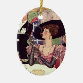 Vintage Woman Drinking Champagne Smoking Cigarette Christmas Ornament