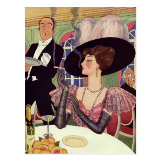 Vintage Woman Drinking Champagne Smoking Cigarette Postcard