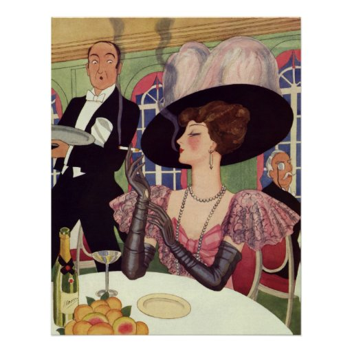 Vintage Woman Drinking Champagne Smoking Cigarette Poster
