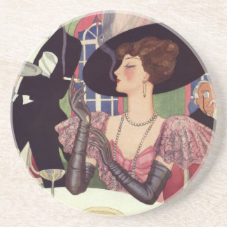 Vintage Woman Drinking Champagne Smoking Cigarette Sandstone Coaster