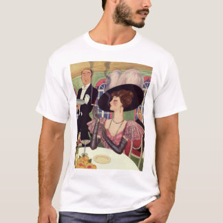 Vintage Woman Drinking Champagne Smoking Cigarette T-Shirt