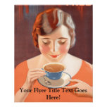 Vintage Woman Drinking Tea Painting Ad Flyer