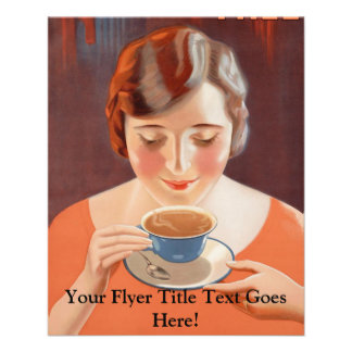 Vintage Woman Drinking Tea Painting Ad Flyer
