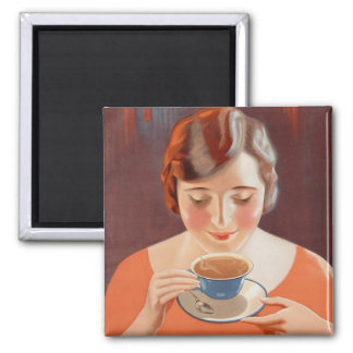Vintage Woman Drinking Tea Painting Ad Magnet