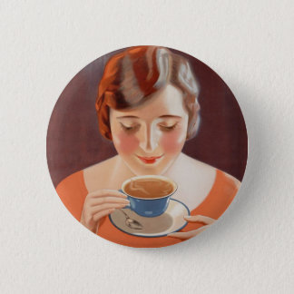 Vintage Woman Drinking Tea Painting Ad Pinback Button
