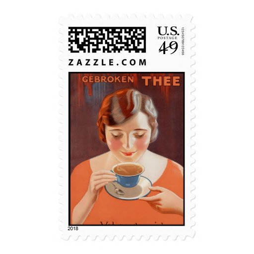 Vintage Woman Drinking Tea Painting Ad Postage Stamps