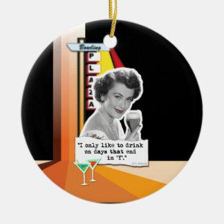 Vintage Woman Drinks on Days Ceramic Ornament