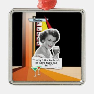 Vintage Woman Drinks on Days Metal Ornament