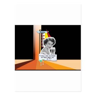 Vintage Woman Drinks on Days Postcard