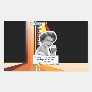 Vintage Woman Drinks on Days Rectangular Sticker