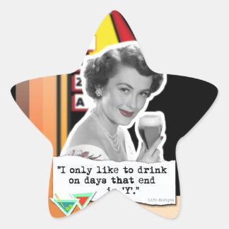 Vintage Woman Drinks on Days Star Sticker