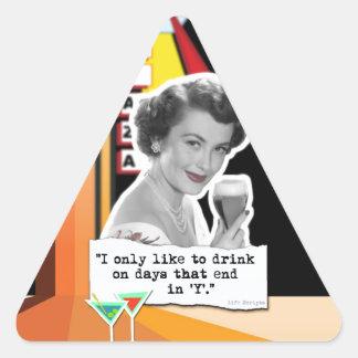Vintage Woman Drinks on Days Triangle Sticker