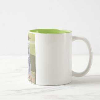Vintage Woman embarks on quest Two-Tone Coffee Mug