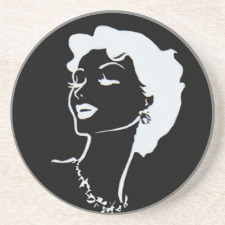 Vintage Woman Face Black and White French Graphic Drink Coaster