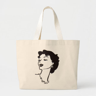Vintage Woman Face Black and White French Graphic Large Tote Bag