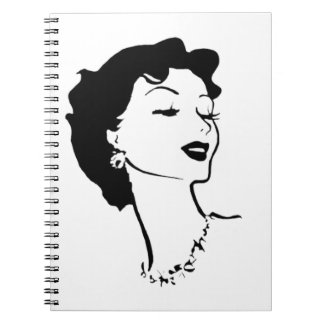 Vintage Woman Face Black and White French Graphic Notebook