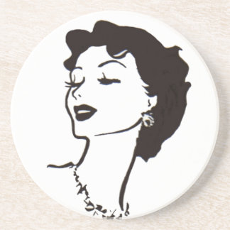 Vintage Woman Face Black and White French Graphic Sandstone Coaster
