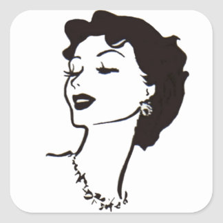 Vintage Woman Face Black and White French Graphic Square Sticker