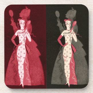 Vintage Woman Fashionista Black Pink Dress Graphic Beverage Coasters