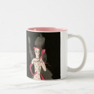 Vintage Woman Fashionista Black Pink Dress Graphic Two-Tone Coffee Mug