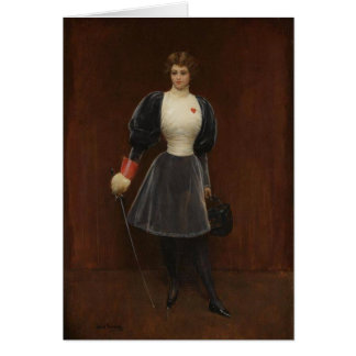 Vintage Woman Fencer Card