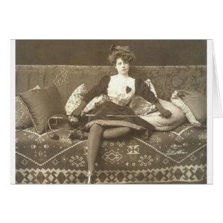 Vintage Woman Fencer Fencing Note Card