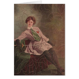 Vintage Woman Fencer Puzzle Note Card