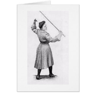 Vintage Woman Fencer! Vintage Fencing Note Card