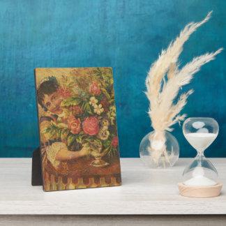 Vintage Woman Floral Arrangement Plaque