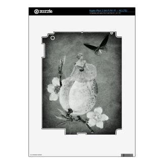 Vintage Woman Flower Black&White iPad 3 Skin