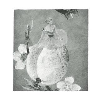 Vintage Woman Flower Black&White Note Pad