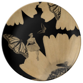 Vintage Woman Flower Butterfly Grunge Dinner Plate
