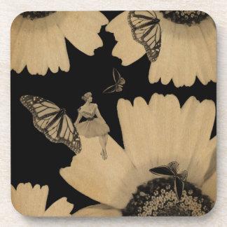 Vintage Woman Flower Butterfly Grunge Drink Coaster