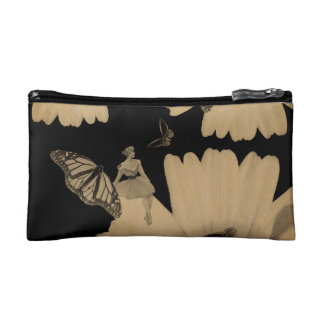 Vintage Woman Flower Butterfly Grunge Makeup Bag