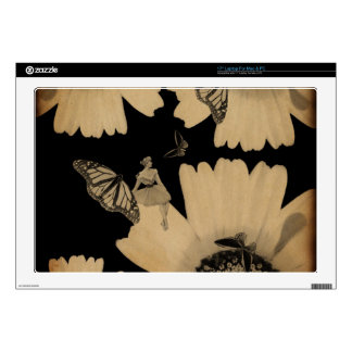 Vintage Woman Flower Butterfly Grunge Skin For Laptop