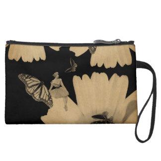Vintage Woman Flower Butterfly Grunge Suede Wristlet Wallet