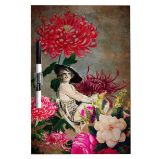 Vintage Woman Flower Collage Dry Erase Board