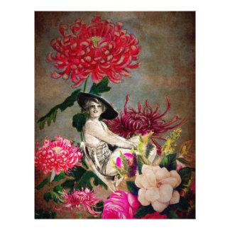 Vintage Woman Flower Collage Letterhead