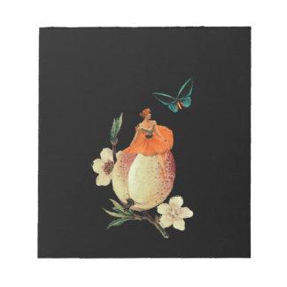 Vintage Woman Flower Dark Grunge Note Pad