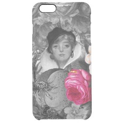 Vintage Woman Flower Garden Clear iPhone 6 Plus Case