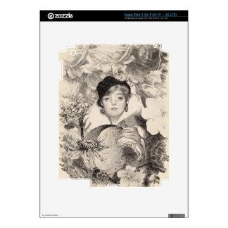 Vintage Woman Flower Garden Grunge iPad 3 Skin