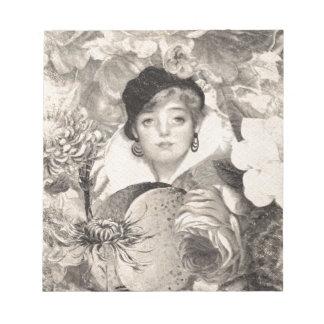 Vintage Woman Flower Garden Grunge Notepad
