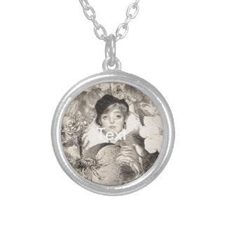 Vintage Woman Flower Garden Grunge Round Pendant Necklace