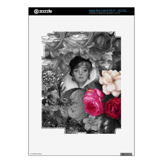 Vintage Woman Flower Garden iPad 3 Decal