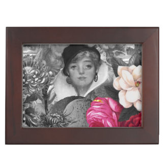 Vintage Woman Flower Garden Keepsake Box
